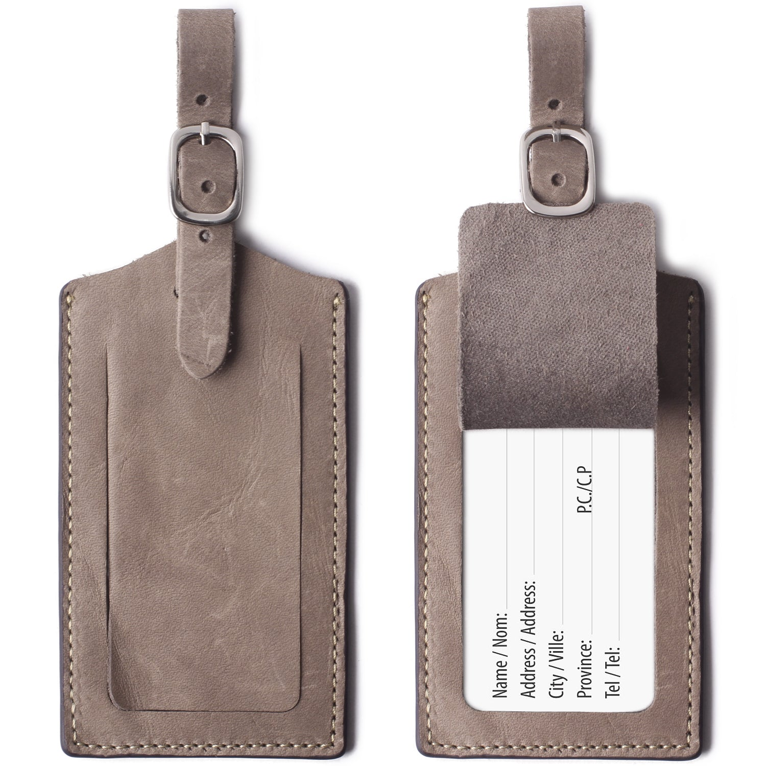 Genuine Leather Luggage Tags Bag Case Holders Baggage Travel Tag with Full Back Privacy Cover 1 Pcs Grey - Borgasets