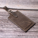 Genuine Leather Luggage Tags Bag Case Holders Baggage Travel Tag with Full Back Privacy Cover 1 Pcs Khaki - Borgasets