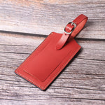 Genuine Leather Luggage Tags Bag Case Holders Baggage Travel Tag with Full Back Privacy Cover 1 Pcs Red - Borgasets
