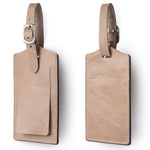Genuine Leather Luggage Tags Bag Case Holders Baggage Travel Tag with Full Back Privacy Cover 1 Pcs Apricot - Borgasets