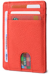 Slim Minimalist Front Pocket RFID Blocking Leather Wallets for Men & Women BG2288 Cross Red - Borgasets