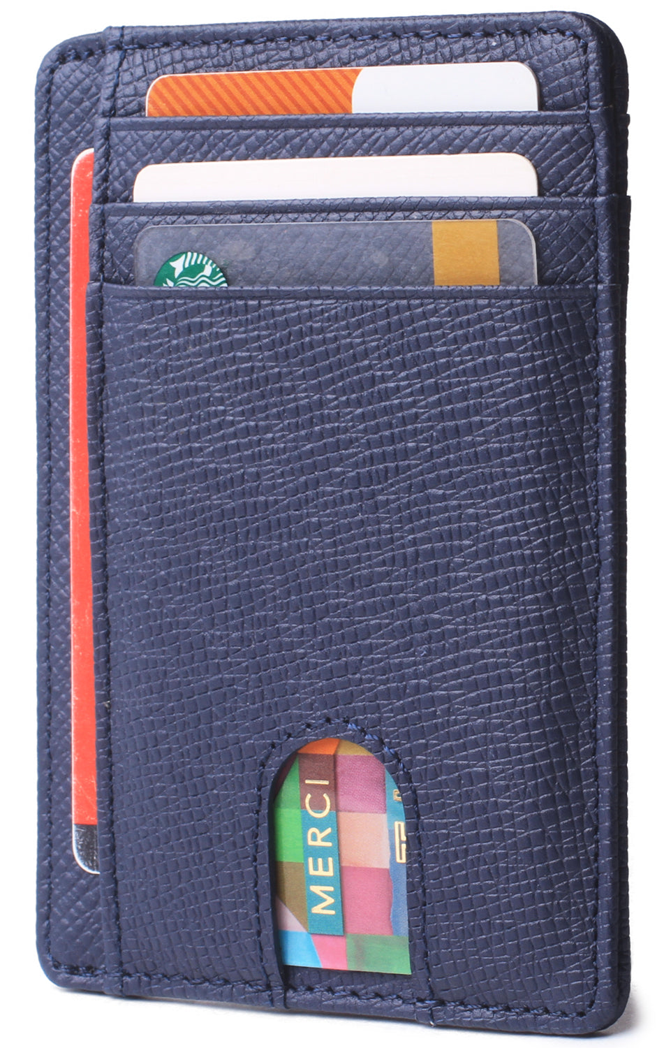 Slim Minimalist Front Pocket RFID Blocking Leather Wallets for Men & Women BG2288 Cross Blue - Borgasets