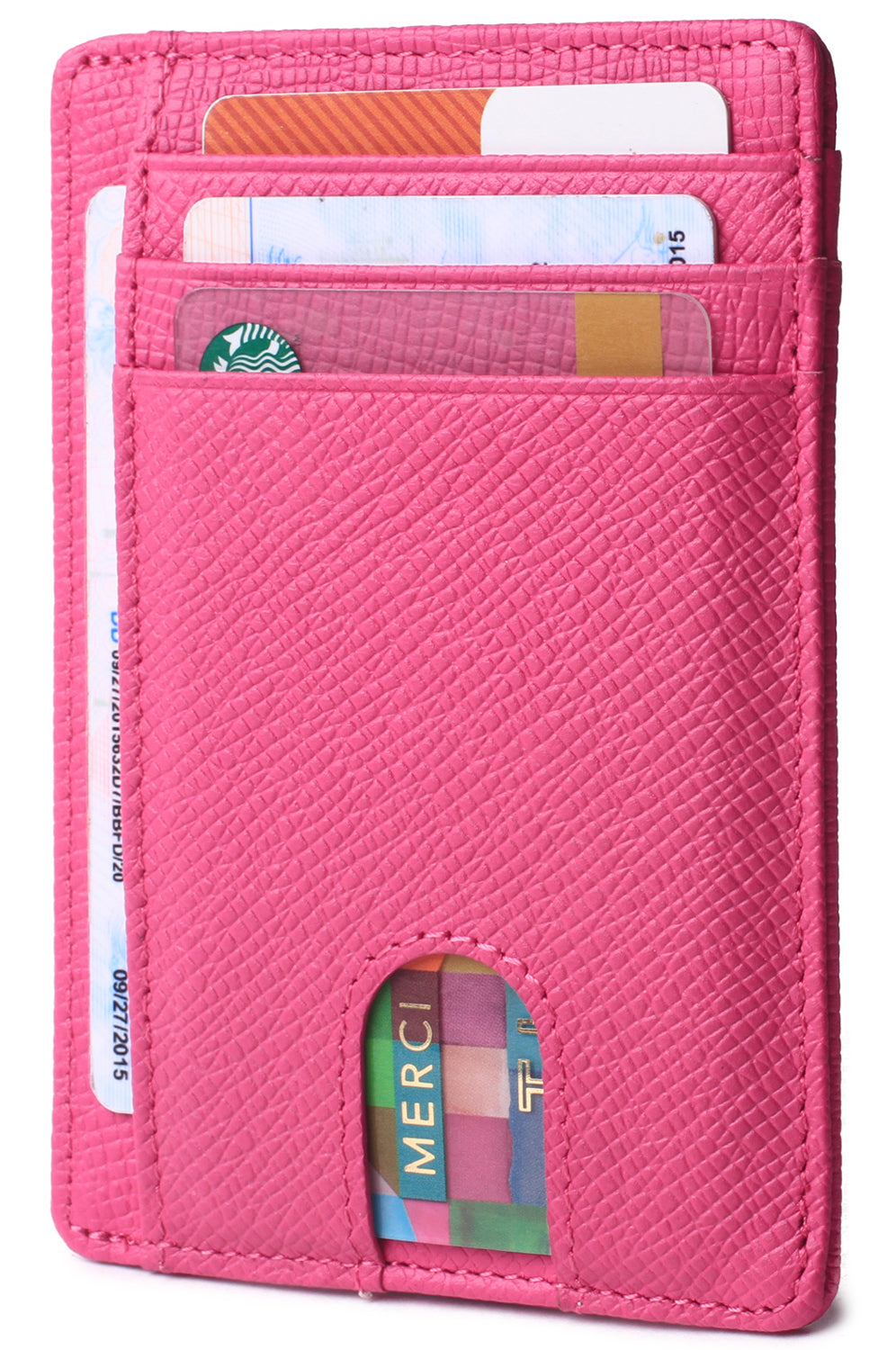 Slim Minimalist Front Pocket RFID Blocking Leather Wallets for Men & Women Pink - Borgasets