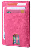 Slim Minimalist Front Pocket RFID Blocking Leather Wallets for Men & Women BG2288 Pink - Borgasets