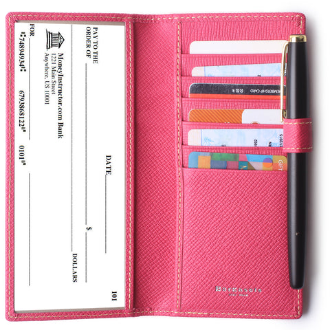 Leather Checkbook Cover For Men Women Checkbook Covers with Card Holder Wallet BG2255 Rose - Borgasets