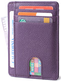 Slim Minimalist Front Pocket RFID Blocking Leather Wallets for Men & Women BG2288 Cross Purple - Borgasets