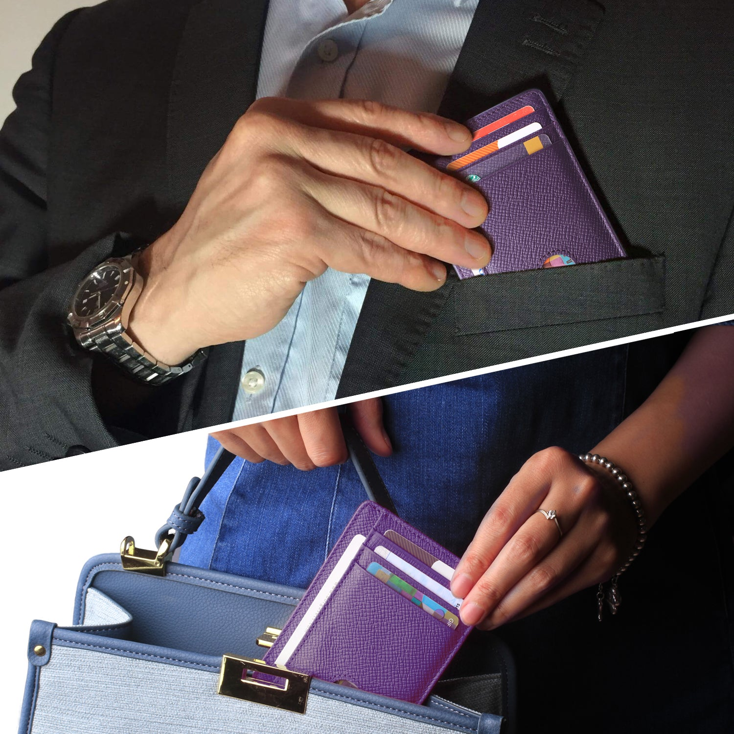 Slim Minimalist Front Pocket RFID Blocking Leather Wallets for Men & Women Purple - Borgasets