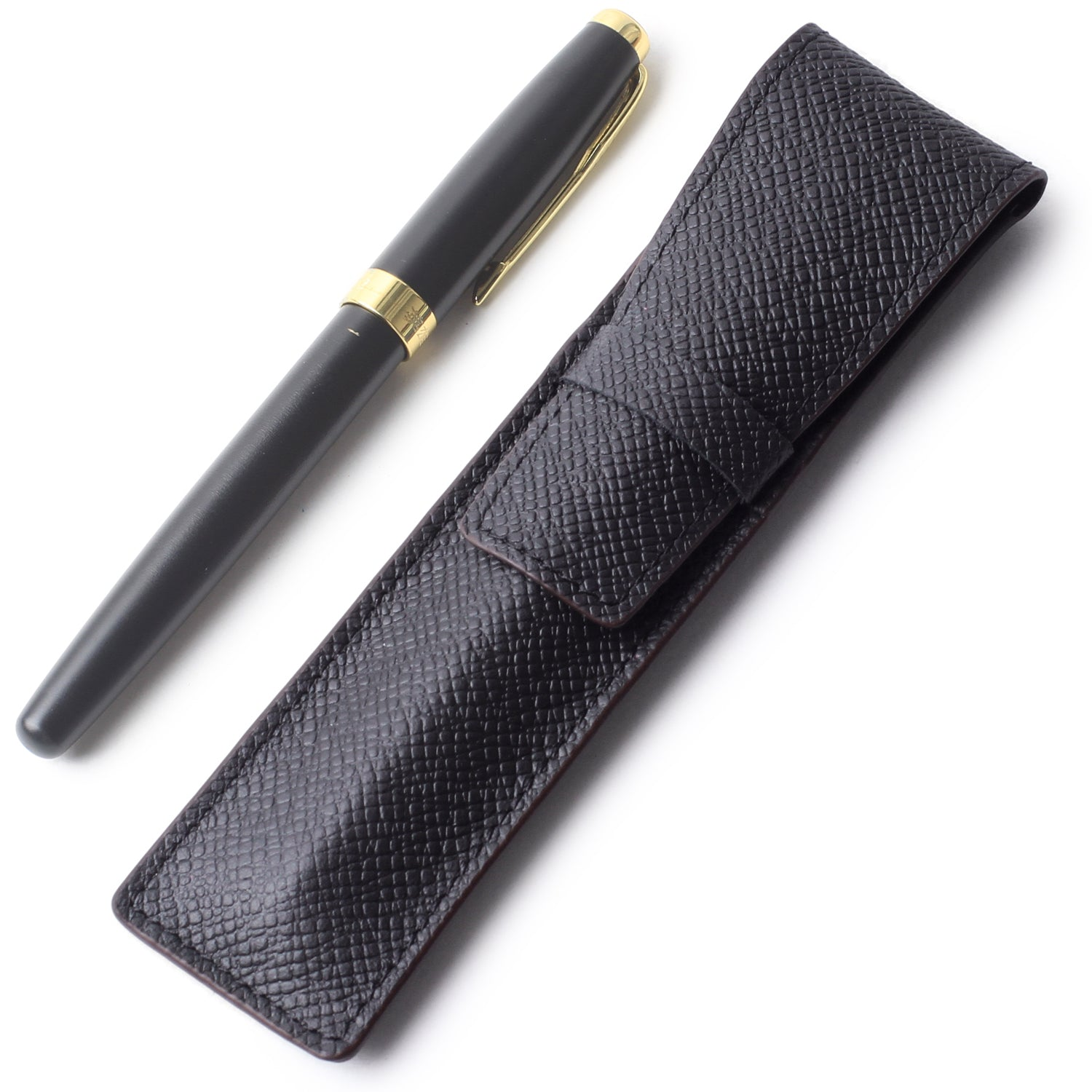 Borgasets Full Grain Leather Single Pen Case Holder Pencil Bag for Men Women Black - Borgasets