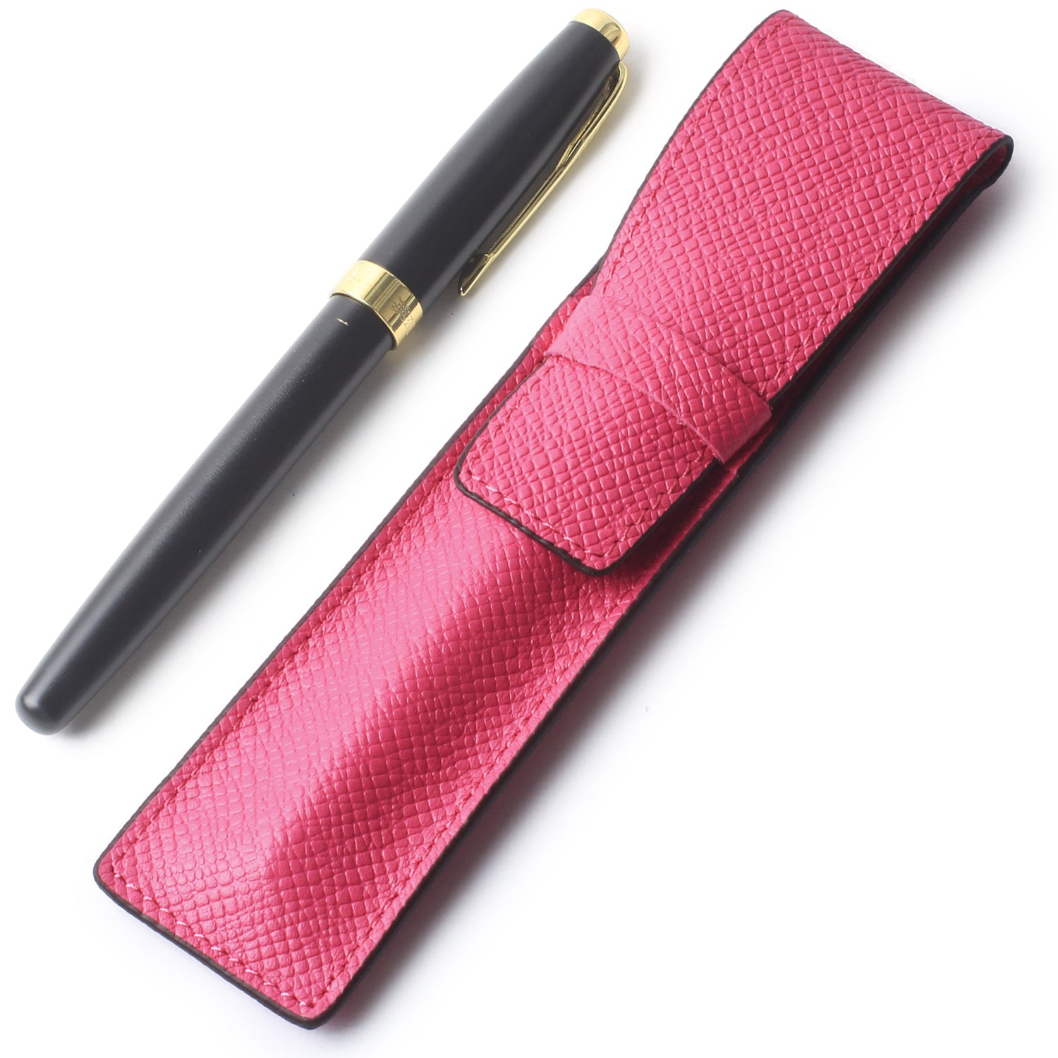 Borgasets Full Grain Leather Single Pen Case Holder Pencil Bag for Men Women Pink - Borgasets
