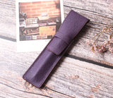 Borgasets Full Grain Leather Single Pen Case Holder Pencil Bag for Men Women Purple - Borgasets