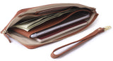 Thera Wristlet Zip Wallet Removable Strap Passport Cover Brown - Borgasets