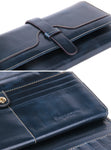Prague Womens Leather Purse Ladies Trifold Wallets With ID Card Holder (Dark Blue) - Borgasets