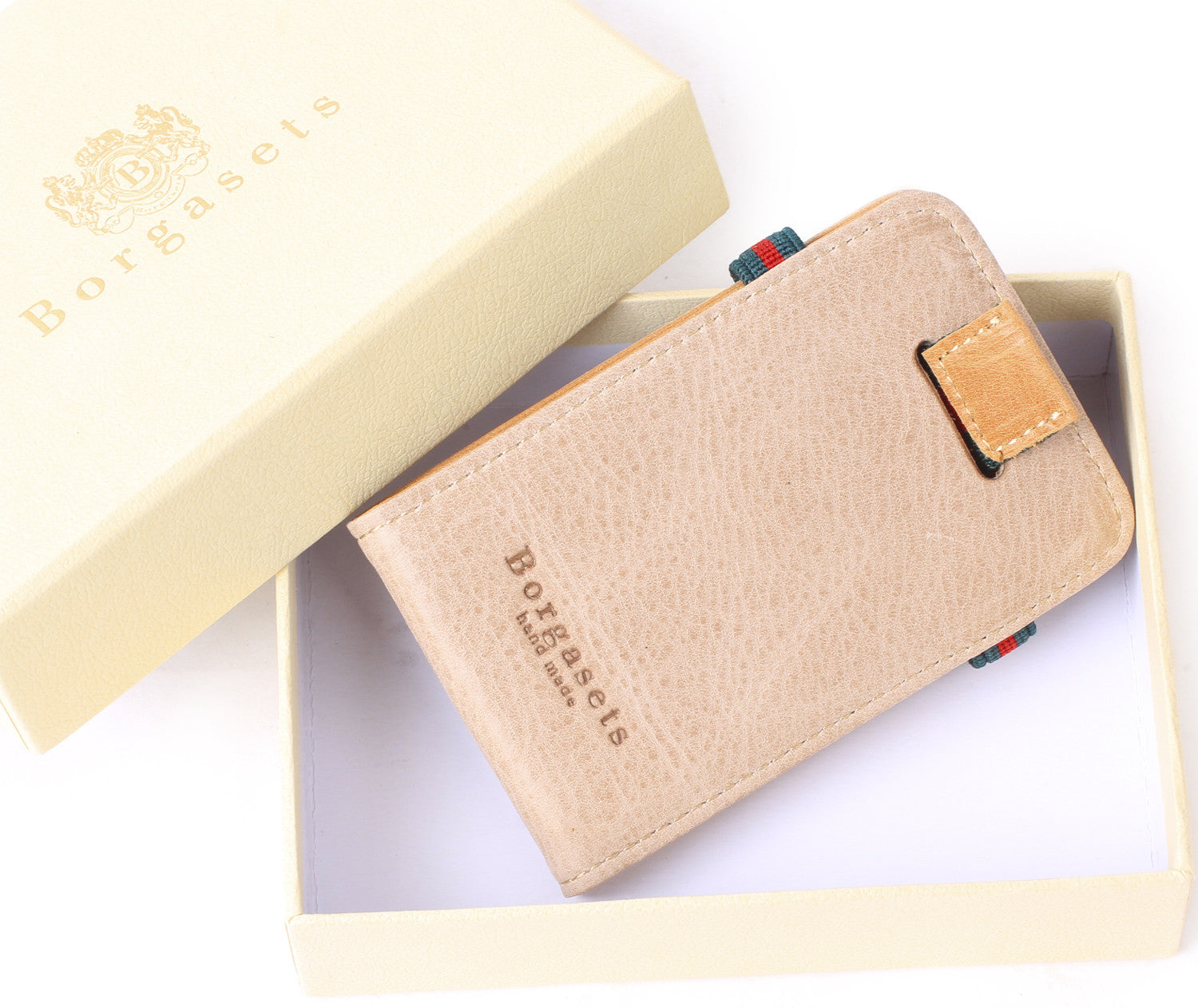 Wolly Leather Slim Wallet Credit Card Holder Unisex, Apricot - Borgasets