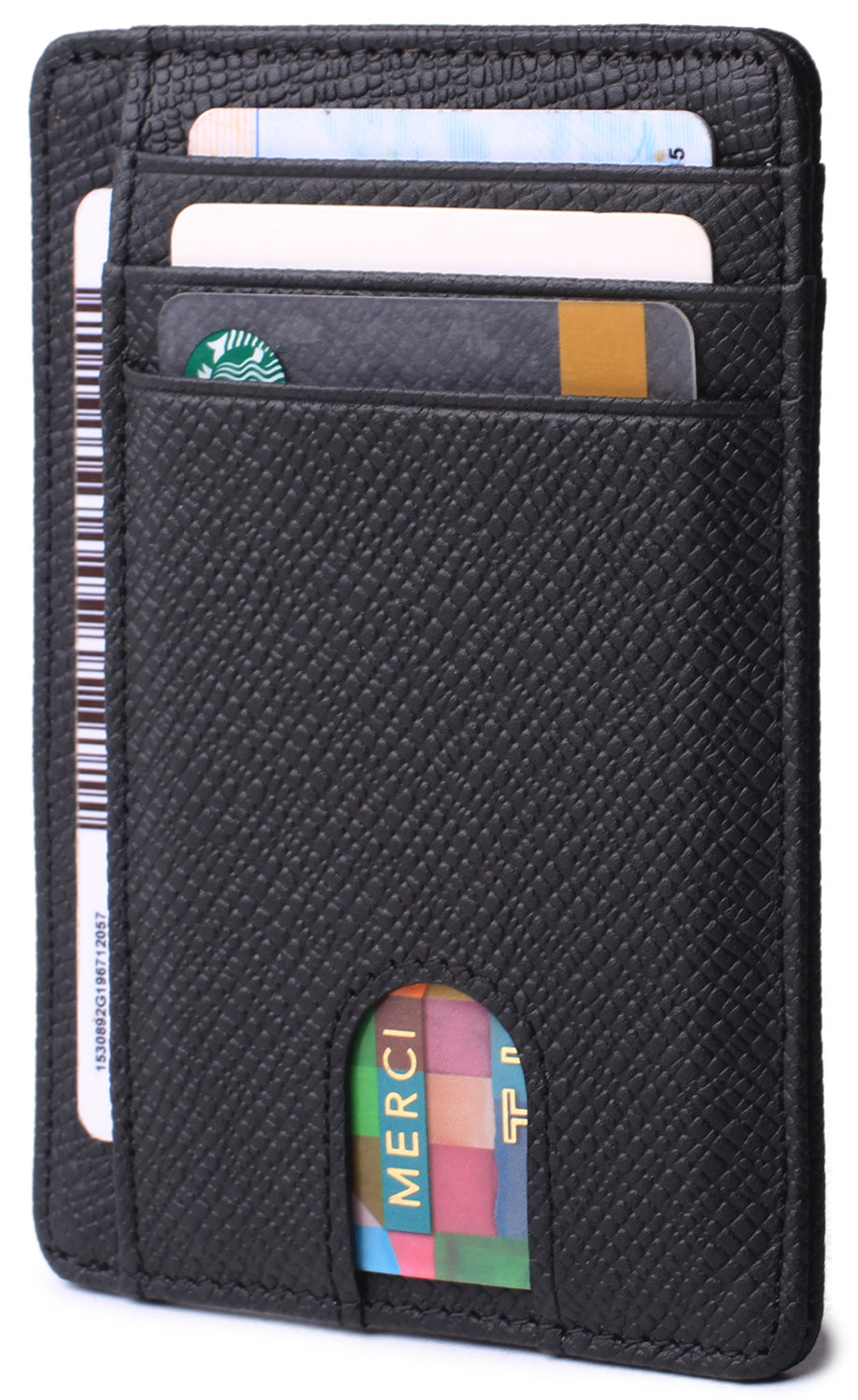 Slim Minimalist Front Pocket RFID Blocking Leather Wallets for Men & Women BG2288 Cross Black - Borgasets