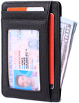 Slim Minimalist Front Pocket RFID Blocking Leather Wallets for Men & Women BG2288 Black - Borgasets