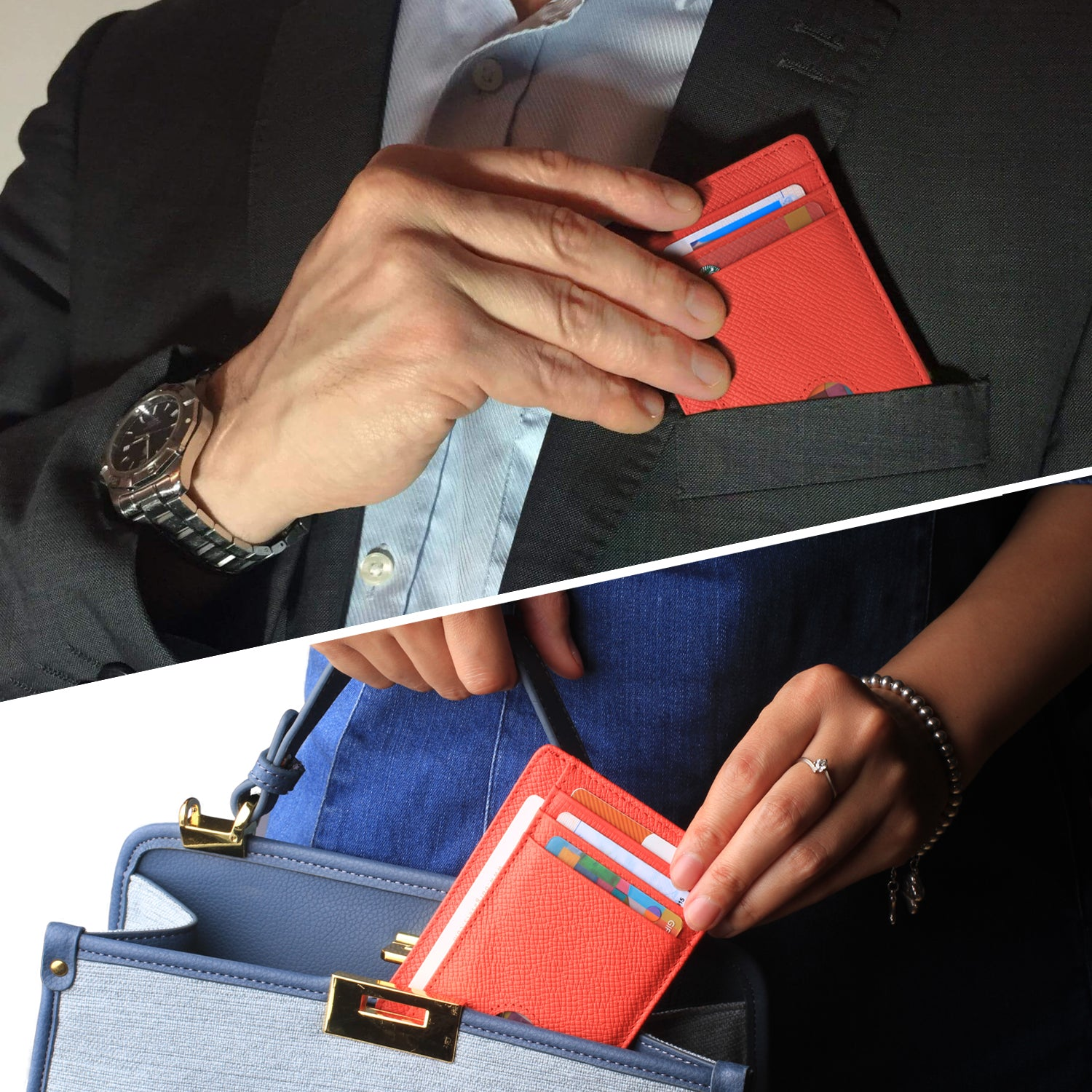 Slim Minimalist Front Pocket RFID Blocking Leather Wallets for Men & Women BG2288 Red - Borgasets
