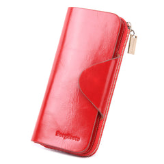 Grande Women's RFID Blocking Wallet Zip Trifold Leather Purse Clutch Red - Borgasets
