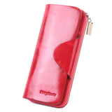 Grande Women's RFID Blocking Wallet Zip Trifold Leather Purse Clutch Rose - Borgasets