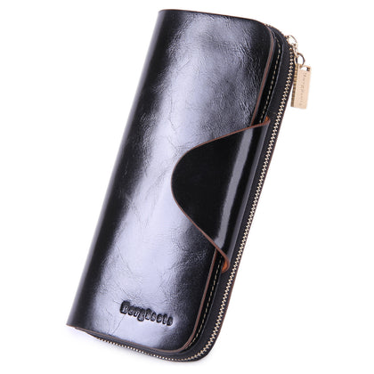 Grande Women's RFID Blocking Wallet Zip Trifold Leather Purse Clutch Black - Borgasets