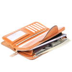 Grande Women's RFID Blocking Wallet Zip Trifold Leather Purse Clutch Brown - Borgasets