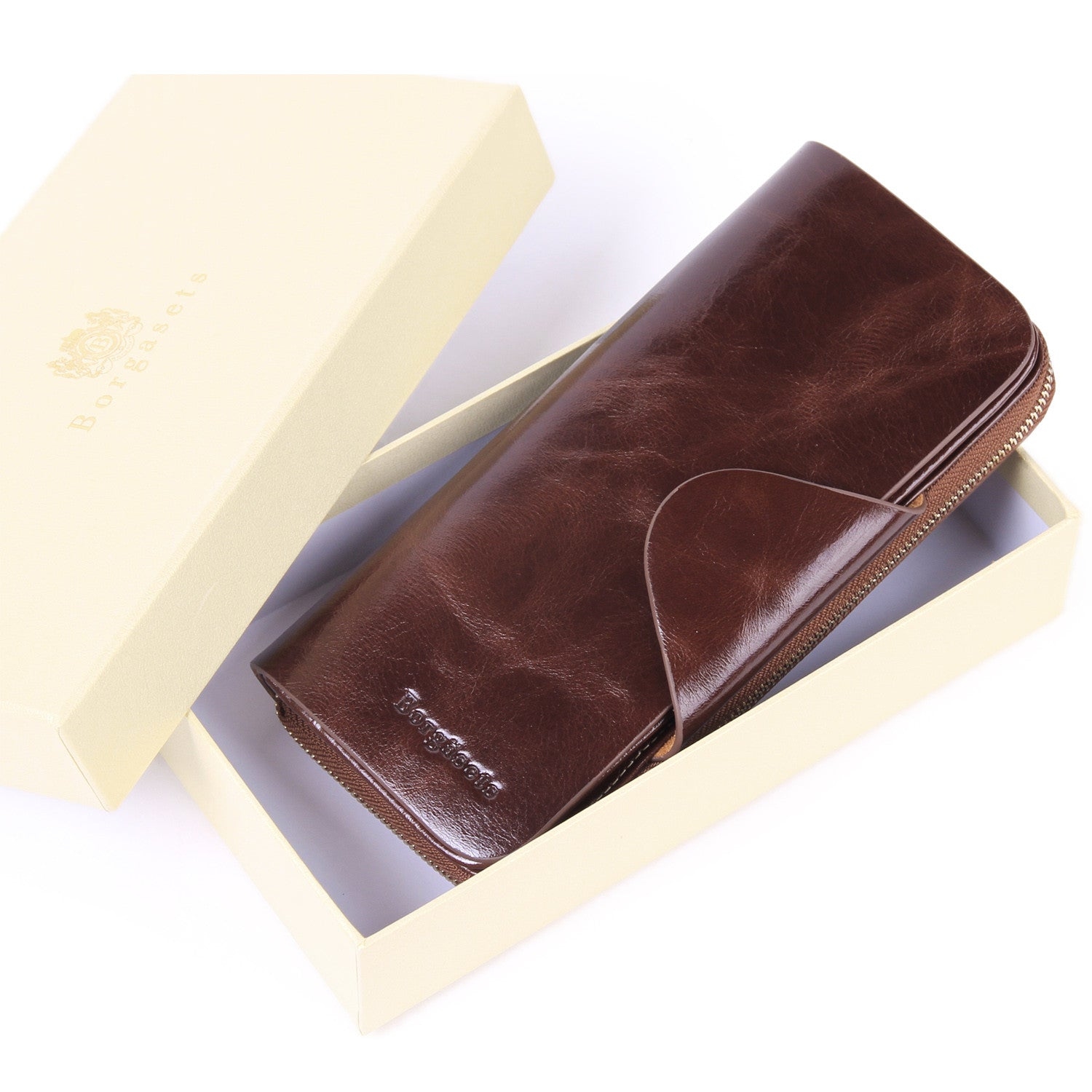 Grande Women's RFID Blocking Wallet Zip Trifold Leather Purse Clutch Coffee - Borgasets