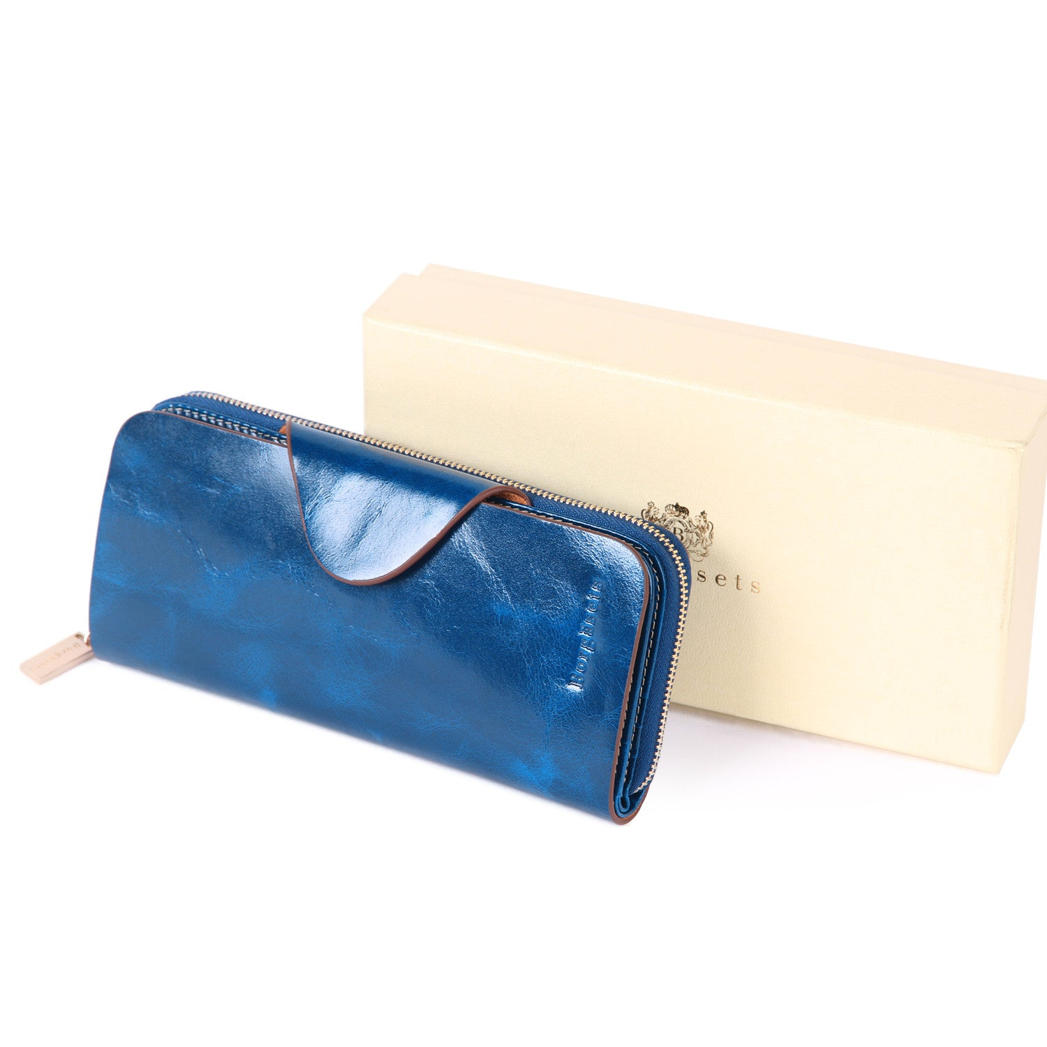 Grande Women's RFID Blocking Wallet Zip Trifold Leather Purse Clutch Blue - Borgasets