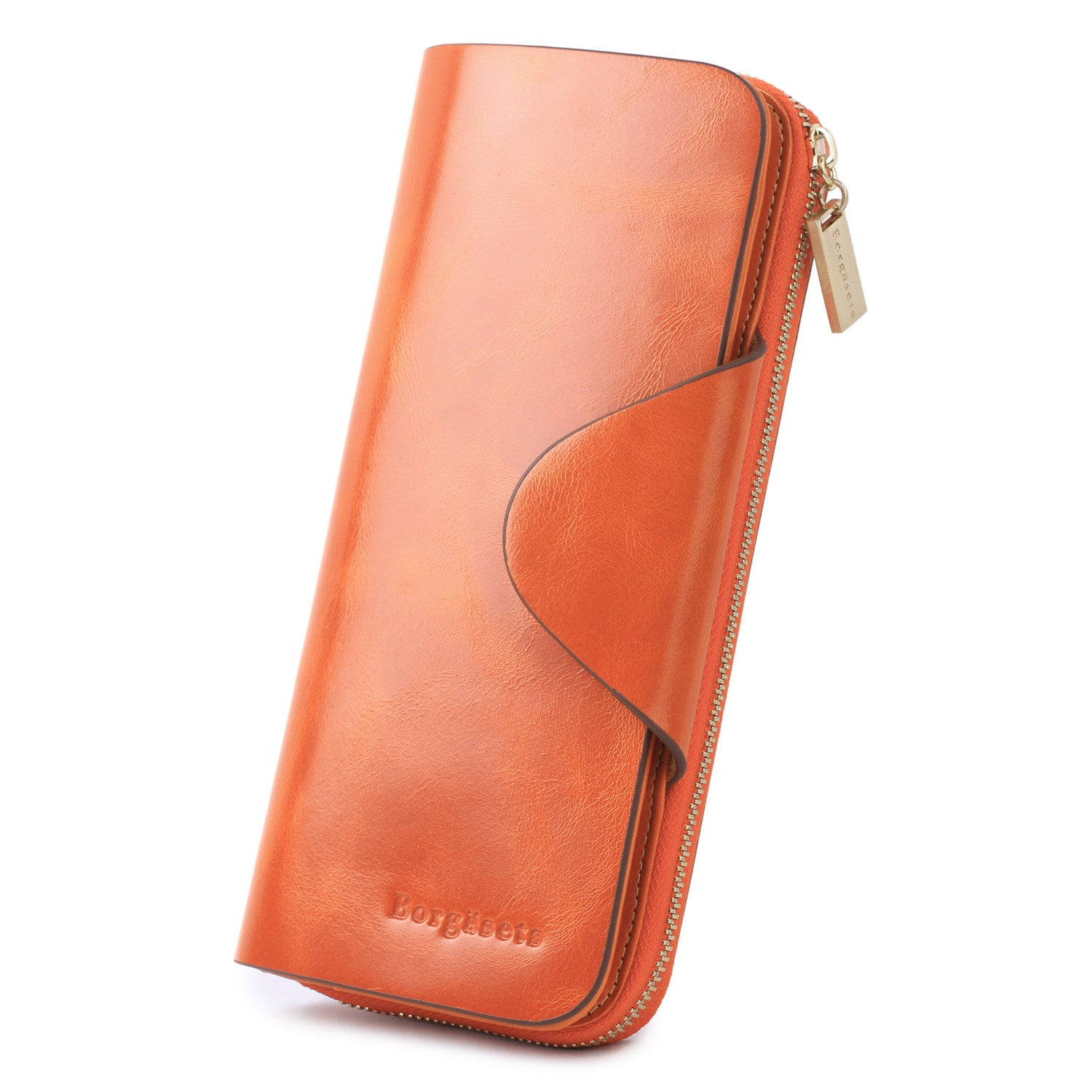 Grande Women's RFID Blocking Wallet Zip Trifold Leather Purse Clutch Orange - Borgasets