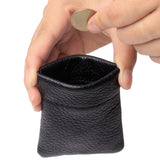 Leather Squeeze Coin Purse Pouch Change Holder For Men & Woman With Key Chain and Key Ring Small Size BG3022 Black - Borgasets