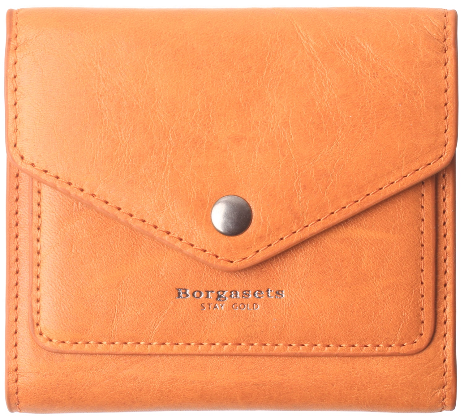 Small Leather Wallet for Women, RFID Blocking Women's Credit Card Holder Mini Bifold Pocket Purse BG1023 orange - Borgasets