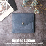 Small Leather Wallet for Women, RFID Blocking Women's Credit Card Holder Mini Bifold Pocket Purse BG1023 stone blue - Borgasets