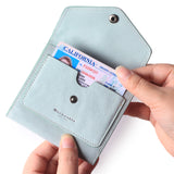 Small Leather Wallet for Women, RFID Blocking Women's Credit Card Holder Mini Bifold Pocket Purse BG1023 Ice Blue - Borgasets