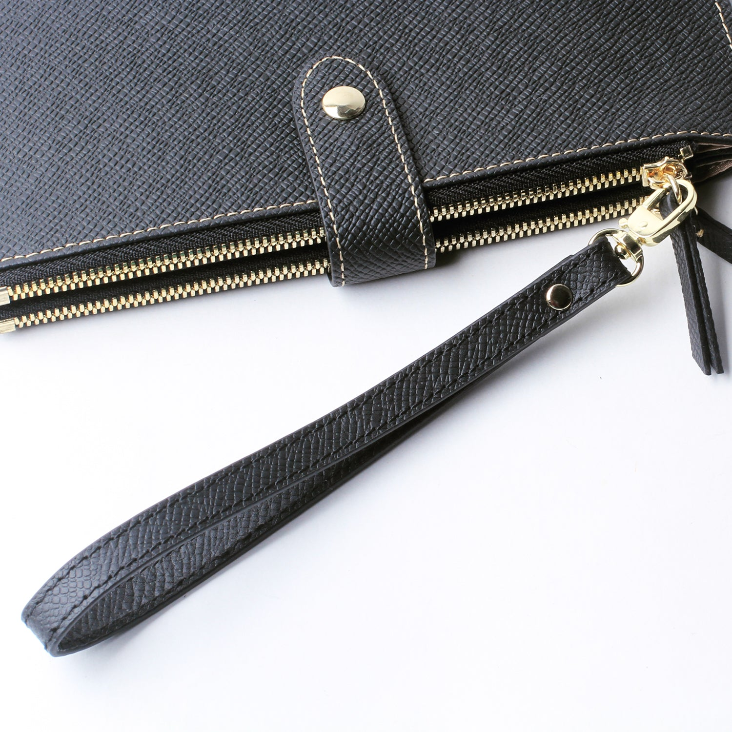 Leather Wristlet KeyChain Cellphone Hand Wrist Strap with Lock for Wallet Clutch Wristlet Purse Keys Black - Borgasets