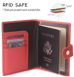 Leather Rfid Blocking Travel Passport Holder Cover Slim ID Card Case Wallet Crosshatch BG1233 Cross Strawberry Red - Borgasets