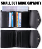Small Leather Wallet for Women, RFID Blocking Women's Credit Card Holder Mini Bifold Pocket Purse BG1023 Fiat Black - Borgasets