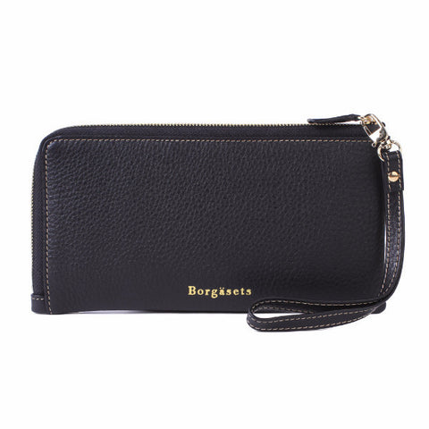 Thera Wristlet Zip Wallet Removable Strap Passport Cover Black - Borgasets