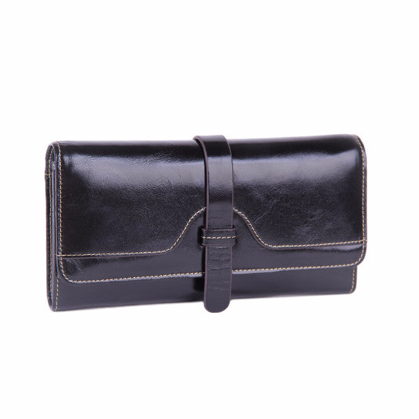Prague Womens Leather Purse Ladies Trifold Wallets With ID Card Holder - Borgasets