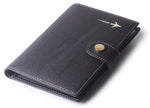 Leather Rfid Blocking Travel Passport Holder Cover Slim ID Card Case Wallet Crosshatch BG1233 Black - Borgasets