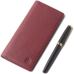 Leather Checkbook Cover For Men Women Checkbook Covers with Card Holder Wallet BG2255 Limited Red - Borgasets