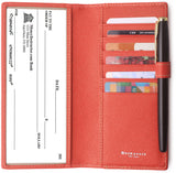 Leather Checkbook Cover For Men Women Checkbook Covers with Card Holder Wallet BG2255 Red - Borgasets