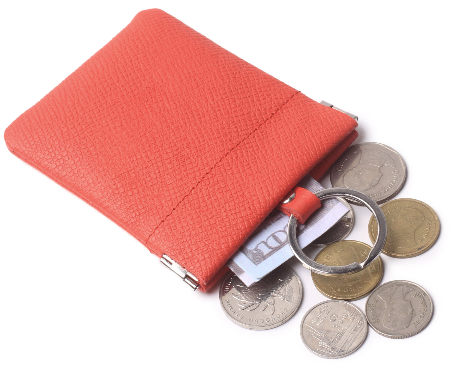 Leather Squeeze Coin Purse Pouch Change Holder For Men & Woman With Key Chain and Key Ring Small Size BG3022 Red - Borgasets