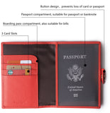 Leather Rfid Blocking Travel Passport Holder Cover Slim ID Card Case Wallet Red BG1233 - Borgasets