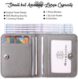 Women's Rfid Blocking Small Compact Bifold Leather Pocket Wallet Ladies Mini Purse with id Window BG1688 Limited Gray - Borgasets