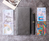 Leather Checkbook Cover For Men Women Checkbook Covers with Card Holder Wallet BG2255 Limited Grey - Borgasets