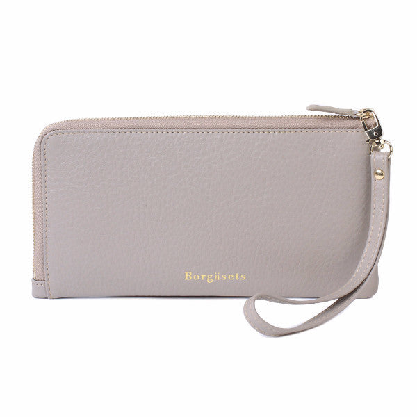 Thera Wristlet Zip Wallet Removable Strap Passport Cover Grey - Borgasets