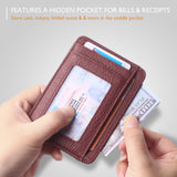 Slim Minimalist Front Pocket RFID Blocking Leather Wallets for Men & Women BG2288 Litchi Crimson - Borgasets