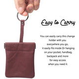 Leather Squeeze Coin Purse Pouch Change Holder For Men & Woman With Key Chain and Key Ring Small Size BG3022 Claret - Borgasets