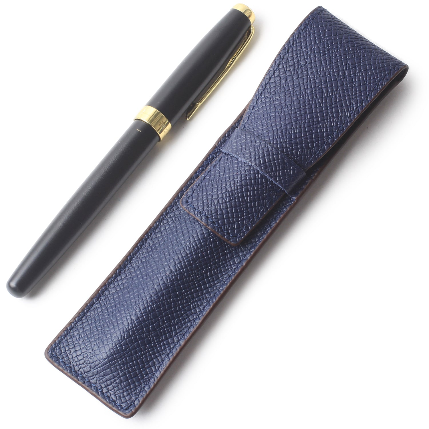 Borgasets Full Grain Leather Single Pen Case Holder Pencil Bag for Men Women Blue - Borgasets