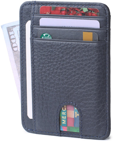 Slim Minimalist Front Pocket RFID Blocking Leather Wallets for Men & Women BG2288 Gray-blue - Borgasets