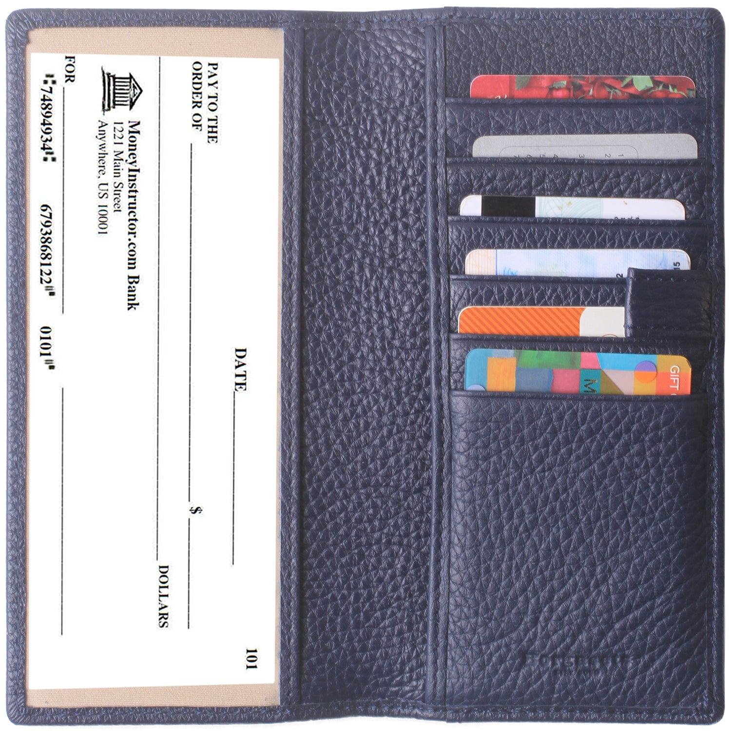 Leather Checkbook Cover For Men Women Checkbook Covers with Card Holder Wallet BG2255 Limited Blue - Borgasets