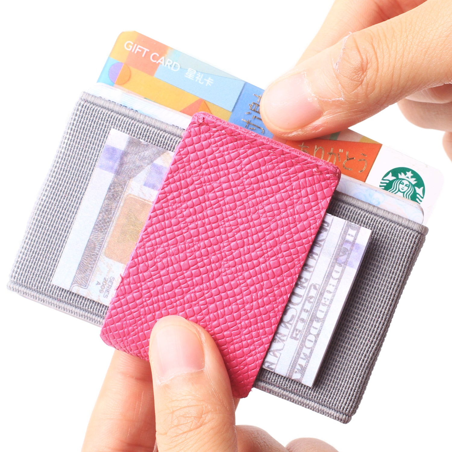 Slim Wallet Front Pocket Minimalist Thin Credit Card Holder Mini Size Men and Women Pink - Borgasets